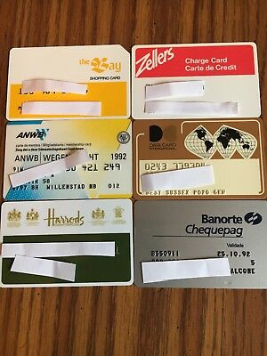 6 Vintage Expired Credit Cards For Collectors - International Theme Lot 2