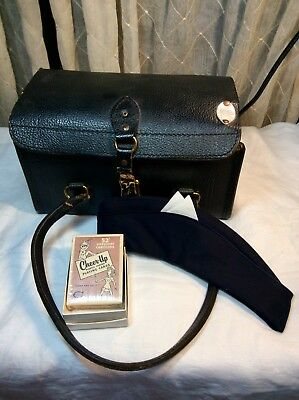 Antique Black Cowhide Leather Doctor's Bag with Original Extras, Hat & Cards