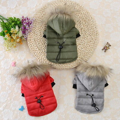 Pet Dog Puppy Warm Padded Coat Jacket Costume Chihuahua Winter Clothe Hoodie US