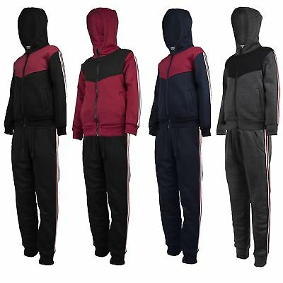 Kids Tracksuit Side Striped Boys Contrast Insert Girls Hooded Top Joggers 3-14 Y