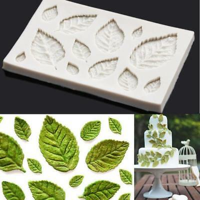 Rose Leaves Silicone Fondant Mould Cake Tree Flowers Leaf Decorating Baking Mold