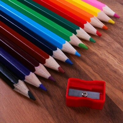 12x KIDS EXTRA CHUNKY COLOURING PENCILS Sharpener Big Coloured Easy Grip Art