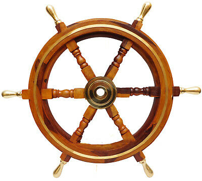 """24"""" Nautical Wooden Ship Steering Wheel Pirate Decor Wood Brass Wall Boat"""