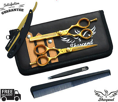Hairdressing Barber Shears, Salon Scissors, Thinning Scissors + Razor Set 5.5""