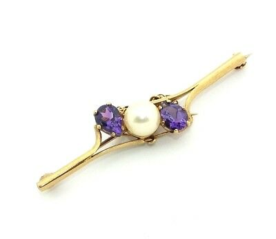 Ladies/womens 9ct 9carat gold brooch set with a pearl + amethysts