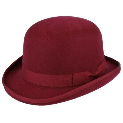 K.I Wool Hand Made Quality Round Top Hard Bowler Hat in Brown with Satin Lining