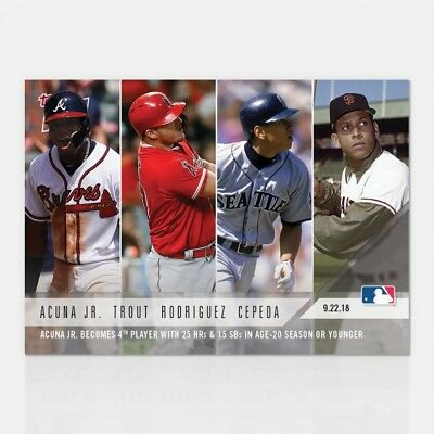 2018 TOPPS NOW #763 RONALD ACUNA JR. 4TH PLAYER WITH 25 HRs & 14 SB AT AGE 20