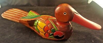 Duck Decoy Wood Handmade Handpainted Red Bill
