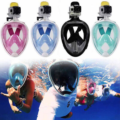 Full Face Snorkeling Snorkel Mask Scuba Diving W/ Breather Pipe For GoPro