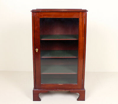 Antique Glass Mahogany Bookcase Cabinet Glazed Edwardian Small