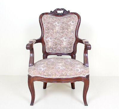 Antique Salon Armchair Victorian Carved Mahogany Ladies Chair