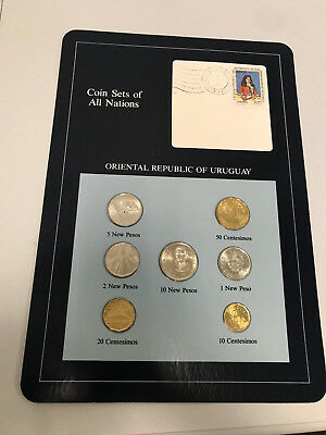 7 PC Coin Sets of All Nations Oriental Republic of Uruguay Stamped Page