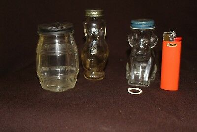 Vintage lot of (3) Clear Glass Owl Shape Candy Container Jar Shaker Bottle 4""