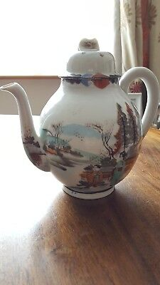 antique Japanese Kutani  teapot porcelain or coffee pot with painted Geishas