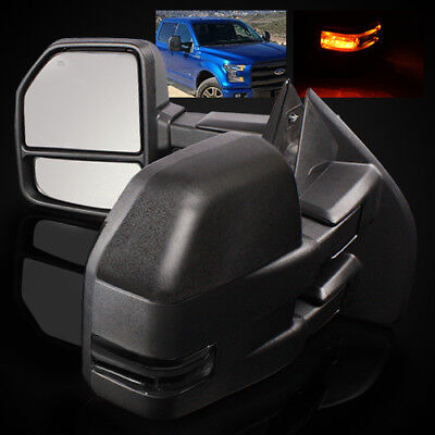 For 15-18 Ford F150 (8 pin) Power/Heat Defrost/Smoke LED Signal Towing Mirrors