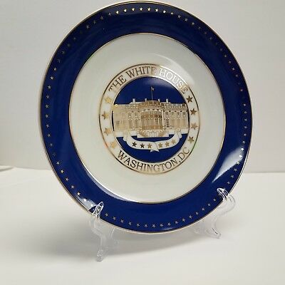 White House Washington DC USA America Commemorative Plate Gold Etch