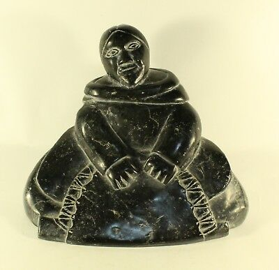 Vintage LARGE WOMAN Inuit Eskimo Art NS17 Primitive Stone Sculpture Carving Art