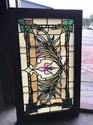 SG 2534 impressive antique transom window unusual Jewels And foliage 20 x 32