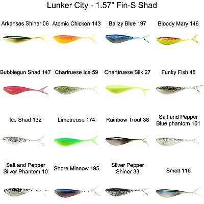 """1 .75/"""" Lunker City  Fin-S Shad 20//Pack Limetreuse Shad"""