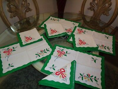 8 pcs christmas placemat napkins set unused vintage bows candles etc sweet - Christmas Placemats And Napkins
