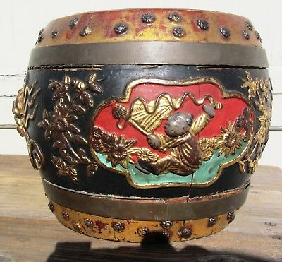 Rare Very Fine Antique Chinese Carved Decorated Rice Barrel 19th Century