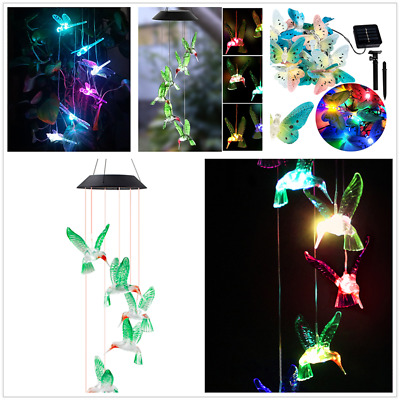 Changing LED Color Dragonfly Wind chime Solar Powered Outdoor Garden Light Lamp