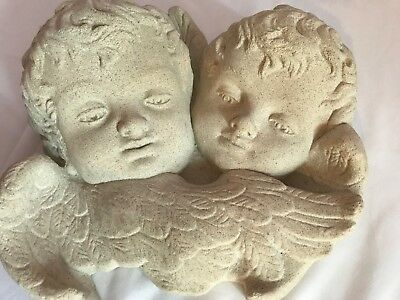 "Hanging Vintage Cement 12"" Angel Cherub Plaque Garden Green Concrete"