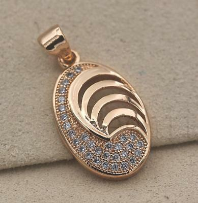 18K Gold Filled - Oval Swirl Hollow Clear Zircon Multilayer Party Women Pendant