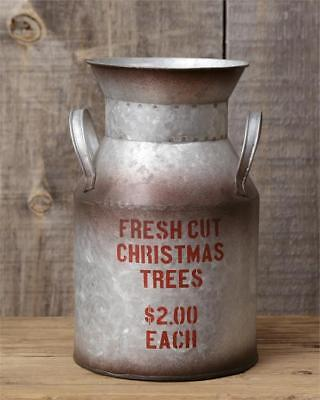 CHRISTMAS TREES MILK CAN Pail Rustic Metal Tin French Vintage Vase Primitive