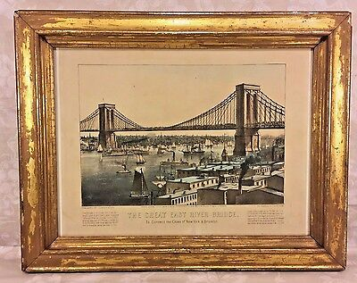 Antique Currier & Ives Print The Great East River Bridge (Brooklyn Bridge) 1872
