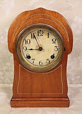 Antique Inlaid Wood Waterbury Mantel Clock w/ Scalloped Top From Estate