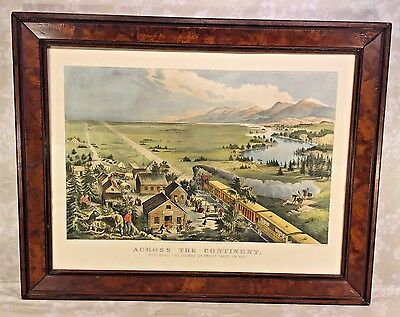 Antique Currier & Ives Lithograph Across the Continent  F F Palmer 1868 Restrike