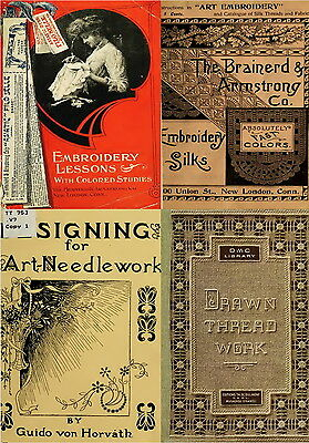 282 Rare Old Books On Needlework Sewing Embroidery Patterns Design Kit On Dvd