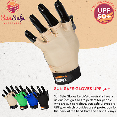 Sun Safe Gloves UPF 50+ UVeto Australia Fishing Kayaking Cycling Stand Up Board