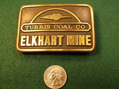 "Very Rare Vtg 1981 Mens Solid Brass Belt Buckle ""Turris Coal Co., Elkhart Mine"""