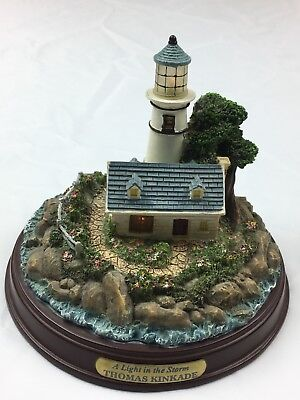 "Thomas Kinkade ""A Light In The Storm"" Seaside Memories Lighted Lighthouse"