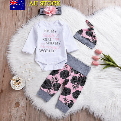 4Pcs Baby Girls Floral Outfits Clothes Set Infant Romper Tops Pants Headband Hat