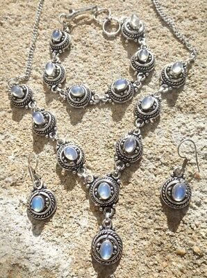 Handmade ethnic silver plated earrings necklace bracelet with opalite cabochons