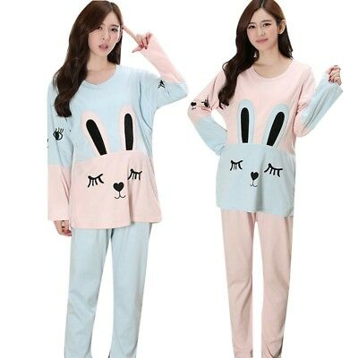 1Set Women Pregnant Pajamas Long Sleeves Maternity Comfortable Sleepwear Cartoon