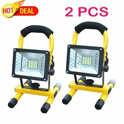 2X 30W COB LED Rechargeable Cordless Thin Portable Work Site Flood Light Camping
