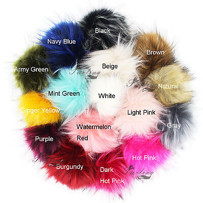 """5"""" Large Faux Raccoon Fur Pom Pom Ball with Press Button for Knitting Hat DIY BY"""