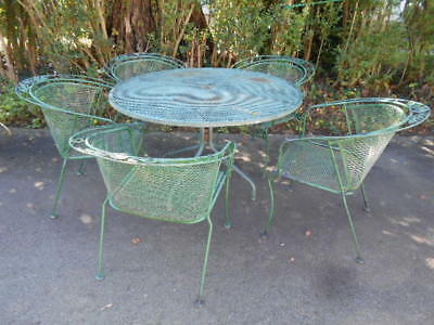 "Antique (6)pc.Wrought Iron Patio 48"" Mesh TopTable& (5) Barrel Back Chairs"