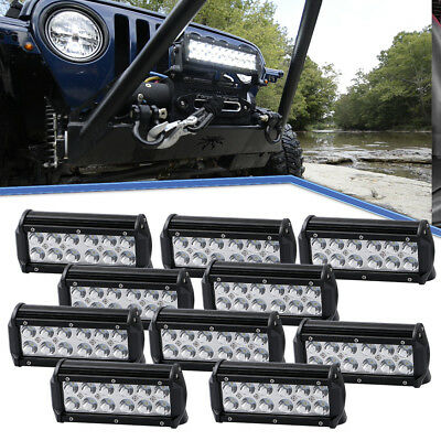 10Pcs 7inch 36W LED Spot Driving Light UTV Offroad Black Lamp SUV Super Brighter