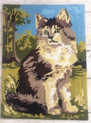 Fab Vtg Completed Margot Needlepoint Minou Tapestry Kitty Kitten Cat Tabby