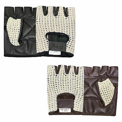 Mens Real Leather Cycling Wheel Chair Weight Lifting Gym Training Gloves