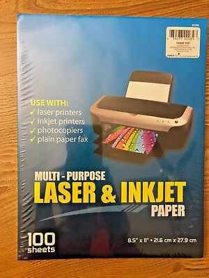 """laser and inkjet 8 1/2 x 11"""" paper, 100 sheets, brand new, free ship"""