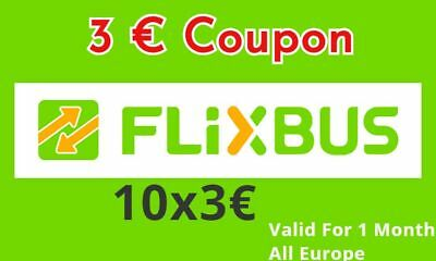 10 x 3€ flixbus  crédits code  - Fast 1h SHIPPING - Discount bus