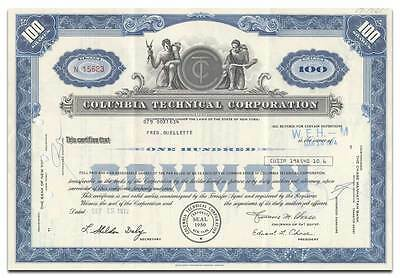 Columbia Technical Corporation Stock Certificate