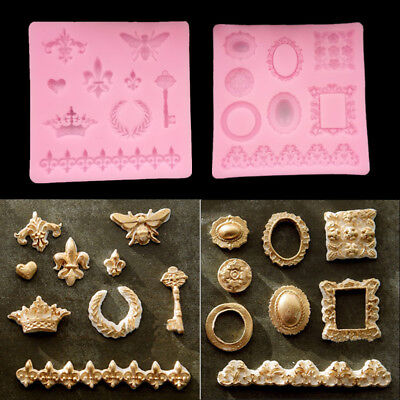 Vintage Relief Frame Silicone Fondant Mold Cake Jewel Crown Key Chain DIY Mould