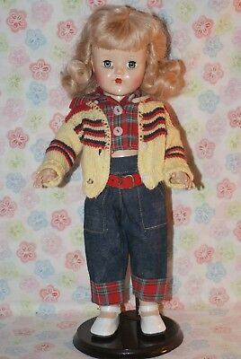 """SO PRETTY! Rare Vintage 15"""" 170 Made In Usa Judy (?) Hard Plastic Strung Doll"""